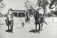 On horseback outside completed houses at 192 Hat Hill Road, Blackheath