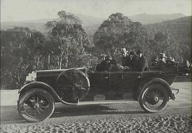 Group in car (location could be Cliff Drive on road to Jenolan Caves)