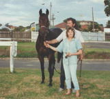 Jim Swadling, Julie Watson and Nerthus, Canterbury Park Racecourse, 1990