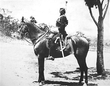 Portrait of Corporal Walter Liberty Vernon of the Sydney Lancers on horseback at Penshurst, Neutral Bay